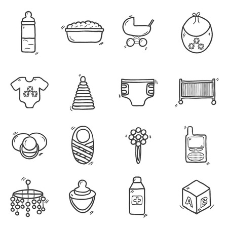Set of cute hand drawn icons on baby theme. Baby care concept with hand drawn objects: baby carriage, nipple, building blocks, baby crib, beanbag, diapers, baby monitor, baby bath for your design