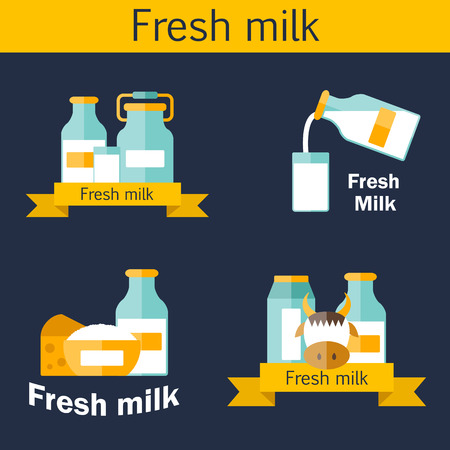 intolerance: Set of cute flat templates for logos with milk products containing lactose: milk bottle, glass, cheese, cottage, cream, yogurt, cow. You can use it for your fresh milk design and lactose intolerance or vegan design