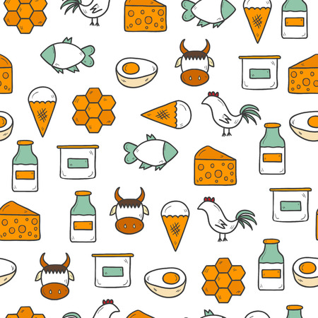 fish on ice: Seamless background with modern cute hand drawn objects with products containing animal protein and prohibited for vegans: milk, cheese, egg, yogurt, fish, ice cream, red meat, honey, poultry meat. Healthy food, vegan diet or farm products concept. You ca Illustration