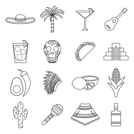 cancun: Set of flat outline icons on Mexica theme: sombrero, poncho, tequila, coctails, taco, skull, guitar, pyramid, avocado, lemon, chilli pepper, cactus, injun hat, palm. Isolated national mexican objects in vector. You can use it for your mexican travel cards