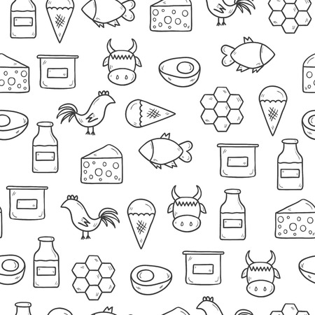 Seamless background with modern cute hand drawn outline objects with products containing animal protein and prohibited for vegans: milk, cheese, egg, yogurt, fish, ice cream, red meat, honey, poultry meat. Healthy food, vegan diet or farm products concept