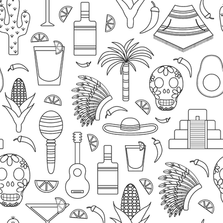 poncho: Seamless background with outline objects on Mexico theme: sombrero, poncho, tequila, coctails, taco, skull, guitar, pyramid, avocado, lemon, chilli pepper, cactus, injun hat, palm. Travel concept. National mexican objects in vector. You can use it for you