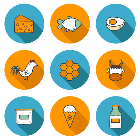 fish in ice: Set of modern hand drawn shadow icons with products containing animal protein and prohibited for vegans: milk, cheese, egg, yogurt, fish, ice cream, red meat, honey, poultry meat. You can use it for your natural organic farm design and animal protein into