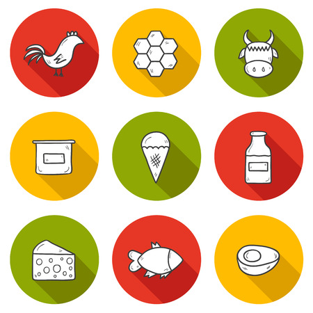 fish on ice: Set of modern hand drawn shadow outline icons with products containing animal protein and prohibited for vegans: milk, cheese, egg, yogurt, fish, ice cream, red meat, honey, poultry meat. You can use it for your natural organic farm design and animal prot