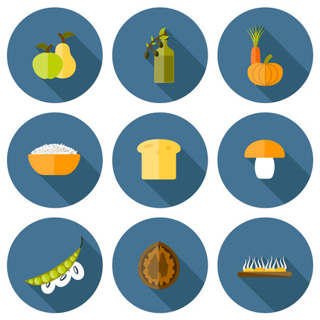 soy bean: Set of modern icons in flat shadow style on vegan food theme: fruit, vegetable, mushroom, soy, bean, oil, nut, bread, rice. Raw healthy food or vegan concept. Great for vegan site, app, organic market or shop, logo and emblem