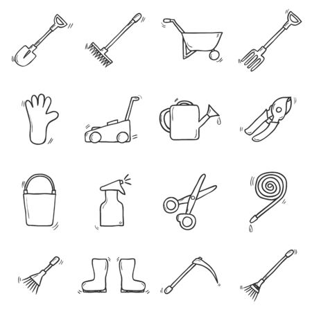 pushcart: Set of cute hand drawn outline icons on garden theme. Outdoor concept with garden tools objects: watering can, gloves, cutter, pitchfork, shovel, boots, rake, secateurs, pushcart, bucket, hose, sprayer for your design