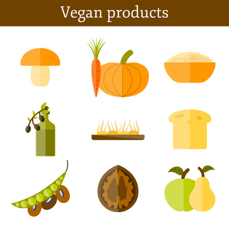 soy bean: Set of modern icons in flat style on vegan food theme: fruit, vegetable, mushroom, soy, bean, oil, nut, bread, rice. Raw healthy food or vegan concept. Great for vegan site, app, organic market or shop, logo and emblem