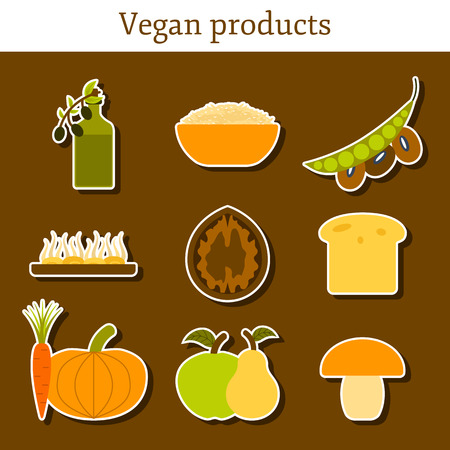 soy free: Set of modern stickers in flat style on vegan food theme: fruit, vegetable, mushroom, soy, bean, oil, nut, bread, rice. Raw healthy food or vegan concept. Great for vegan site, app, organic market or shop, logo and emblem