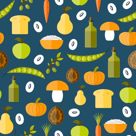 soy bean: Modern vector seamless background with objects in flat shadow style on vegan food theme: fruit, vegetable, mushroom, soy, bean, oil, nut, bread, rice. Raw healthy food or vegan concept. Great for vegan site, app, organic market or shop, logo and emblem Illustration