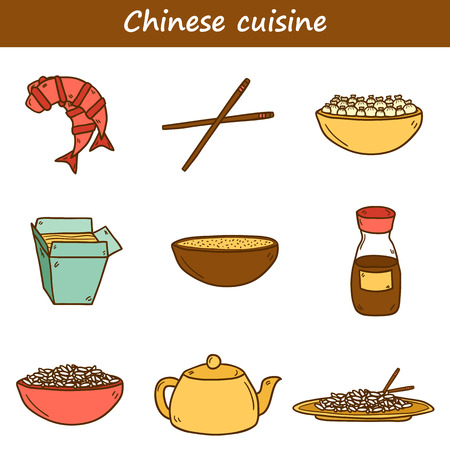 rice and beans: Set of cute modern hand drawn cartoon icons on chinese food theme: rice, teapot, chinese pasta, soy sause, soup, chinese sticks, chinese dumpling, shrimp. Vector ethnic chinese cuisine concept. You can use it for your site, restaurant menu, card or bookle