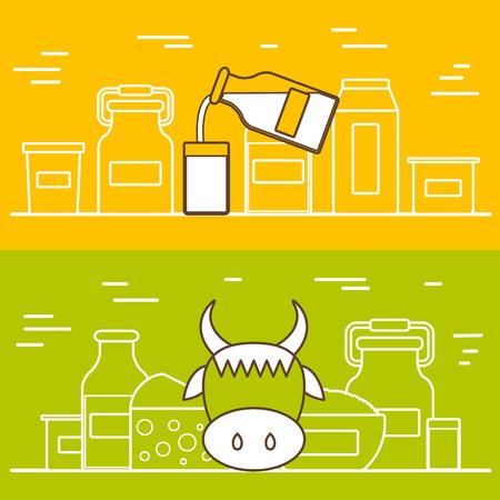 leche: Productos l�cteos concepto vectorial con objetos planos. Dieta Lactosa y fresco plantilla de la leche natural. Conjunto de objetos planos modernos con productos que contienen lactosa: botella de leche, vidrio, queso, reques�n, nata, yogur. Grande para revistas sanos, sitios web de cocina.