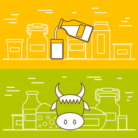 leche: Productos lácteos concepto vectorial con objetos planos. Dieta Lactosa y fresco plantilla de la leche natural. Conjunto de objetos planos modernos con productos que contienen lactosa: botella de leche, vidrio, queso, requesón, nata, yogur. Grande para revistas sanos, sitios web de cocina.