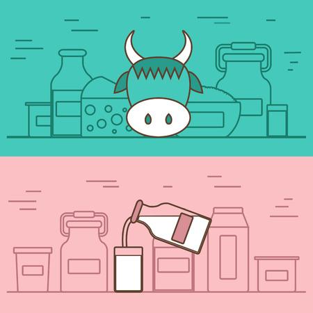 fruttosio: Prodotti lattiero-caseari concetto di vettore con oggetti piatti. Dieta lattosio e fresco modello latte naturale. Set di moderni oggetti piatti con i prodotti contenenti lattosio: bottiglia di latte, vetro, formaggio, casolare, panna, yogurt. Ottimo per riviste sani, siti web di cottura. Vettoriali