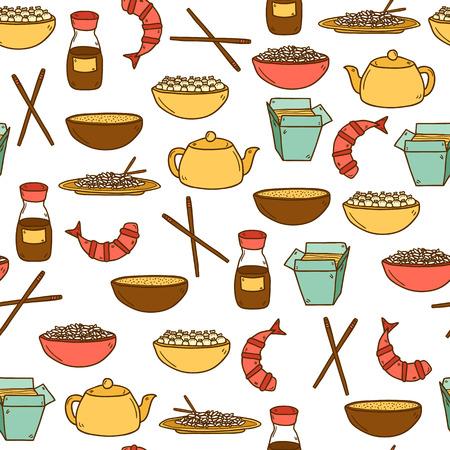 camaron: Fondo moderno sin fisuras con los objetos dibujados a mano de dibujos animados sobre el tema de la comida china: arroz, tetera, pasta china, salsa de soja, sopa, palos chinos, dumpling chino, camarón. Vector étnico chino cocina concepto. Usted puede utilizarlo para su sitio, el menú del restaurante,