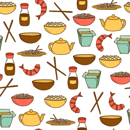 shrimp: Seamless modern background with hand drawn cartoon objects on chinese food theme: rice, teapot, chinese pasta, soy sause, soup, chinese sticks, chinese dumpling, shrimp. Vector ethnic chinese cuisine concept. You can use it for your site, restaurant menu,