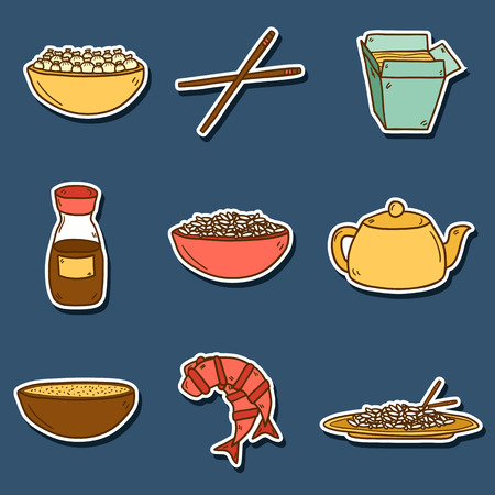 beans and rice: Set of cute modern hand drawn cartoon stickers on chinese food theme: rice, teapot, chinese pasta, soy sause, soup, chinese sticks, chinese dumpling, shrimp. Vector ethnic chinese cuisine concept. You can use it for your site, restaurant menu, card or boo Illustration