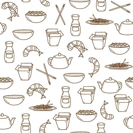 prawn: Fondo moderno sin fisuras con los objetos dibujados a mano de dibujos animados sobre el tema de la comida china: arroz, tetera, pasta china, salsa de soja, sopa, palos chinos, dumpling chino, camar�n. Vector �tnico chino cocina concepto. Usted puede utilizarlo para su sitio, el men� del restaurante,