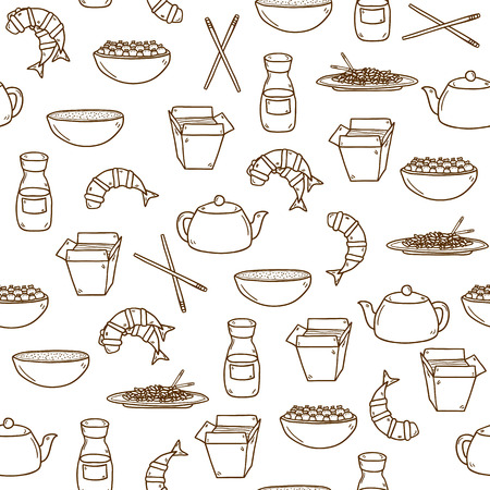 chinesisch essen: Seamless modern background mit Hand gezeichneten Karikatur Objekte auf chinesisches Essen-Thema: Reis, Teekanne, chinesische Nudeln, Soja sause, Suppe, chinese-Sticks, Chinesischer Kloß, Garnelen. Vektor ethnischen chinesischen Küche Konzept. Sie können es für Ihre Website nutzen, Speisekarte, Illustration