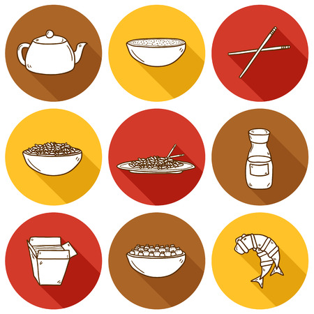 beans and rice: Set of cute modern hand drawn cartoon icons with shadow on chinese food theme: rice, teapot, chinese pasta, soy sause, soup, chinese sticks, chinese dumpling, shrimp. Vector ethnic chinese cuisine concept. You can use it for your site, restaurant menu, ca Illustration