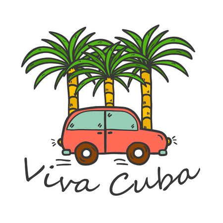 Vector illustration with hand drawn palms and vintage car. Travel or vacation concept. You can use it for logo, emblem or print in your work Illustration