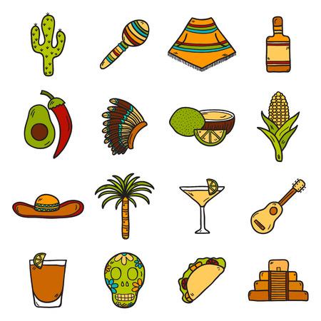 poncho: Tarjeta del vector con lindos objetos dibujados a mano en M�xico el tema: sombrero, poncho, tequila, cocteles, tacos, cr�neo, guitarra, piramidales, aguacate, lim�n, pimienta de chile, cactus, sombrero injun, palma. Concepto del recorrido. Mexicano objetos Nacionales de vector. Se puede utilizar para usted