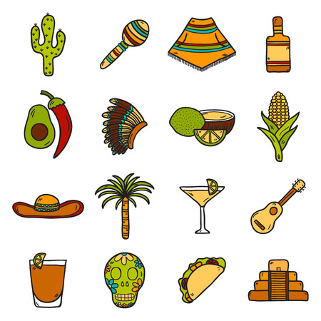 latinoamerica: Vector card with cute hand drawn objects on Mexico theme: sombrero, poncho, tequila, coctails, taco, skull, guitar, pyramid, avocado, lemon, chilli pepper, cactus, injun hat, palm. Travel concept. National mexican objects in vector. You can use it for you