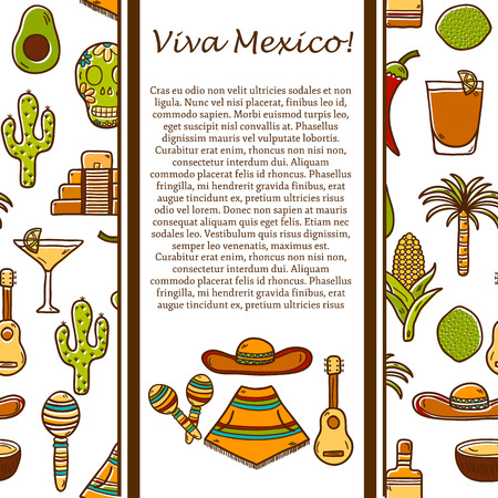 poncho: Vector card with cute hand drawn objects on Mexico theme: sombrero, poncho, tequila, coctails, taco, skull, guitar, pyramid, avocado, lemon, chilli pepper, cactus, injun hat, palm. Travel concept. National mexican objects in vector. You can use it for you