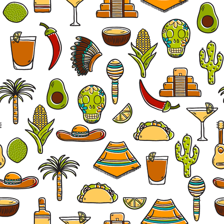 poncho: Seamless background with cute hand drawn objects on Mexico theme: sombrero, poncho, tequila, coctails, taco, skull, guitar, pyramid, avocado, lemon, chilli pepper, cactus, injun hat, palm. Travel concept. National mexican objects in vector. You can use it