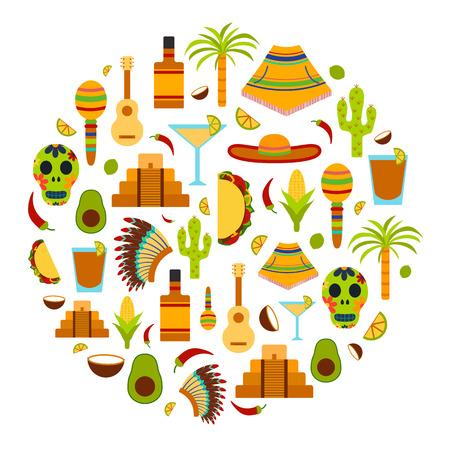 Vector achtergrond met platte objecten op Mexico thema: sombrero, poncho, tequila, coctails, taco, schedel, gitaar, piramide, avocado, citroen, chili peper, cactus, Injun hoed, palm. Reizen concept. Nationale Mexicaanse objecten in vector. Je kunt het gebruiken voor uw mex