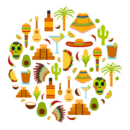 human pyramid: Vector background with flat objects on Mexico theme: sombrero, poncho, tequila, coctails, taco, skull, guitar, pyramid, avocado, lemon, chilli pepper, cactus, injun hat, palm. Travel concept. National mexican objects in vector. You can use it for your mex