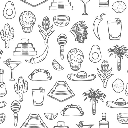 poncho: Seamless  background with cute hand drawn objects on Mexico theme: sombrero, poncho, tequila, coctails, taco, skull, guitar, pyramid, avocado, lemon, chilli pepper, cactus, injun hat, palm. Travel concept. National mexican objects in vector. You can use i
