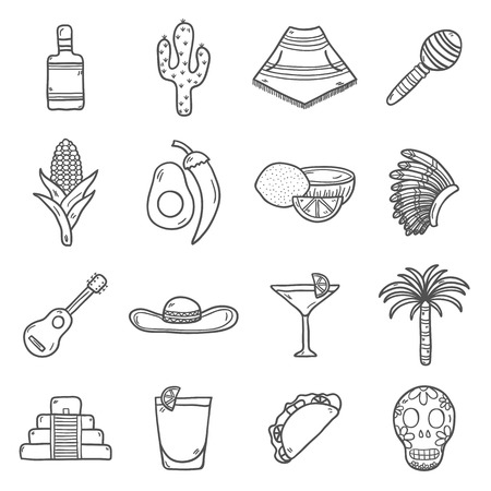 poncho: Set of cute hand drawn outline icons on Mexico theme: sombrero, poncho, tequila, coctails, taco, skull, guitar, pyramid, avocado, lemon, chilli pepper, cactus, injun hat, palm. Isolated national mexican objects in vector. You can use it for your mexican t