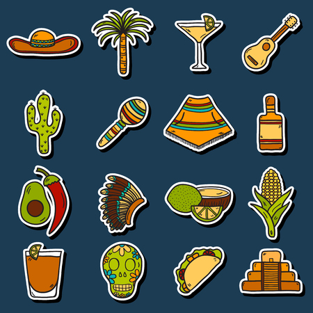 poncho: Set of cute hand drawn stickers on Mexico theme: sombrero, poncho, tequila, coctails, taco, skull, guitar, pyramid, avocado, lemon, chilli pepper, cactus, injun hat, palm. Isolated national mexican objects in vector. You can use it for your mexican travel