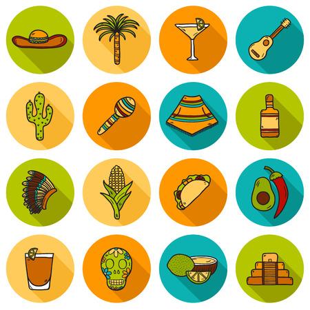 poncho: Conjunto de lindos dibujados a mano los iconos de sombra en M�xico el tema: sombrero, poncho, tequila, cocteles, tacos, cr�neo, guitarra, pir�mide, aguacate, lim�n, aj�, cactus, sombrero injun, palma. Mexicano objetos nacionales aislados en vector. Usted puede utilizarlo para su tr mexicano