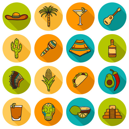 poncho: Set of cute hand drawn shadow icons on Mexico theme: sombrero, poncho, tequila, coctails, taco, skull, guitar, pyramid, avocado, lemon, chilli pepper, cactus, injun hat, palm. Isolated national mexican objects in vector. You can use it for your mexican tr Illustration
