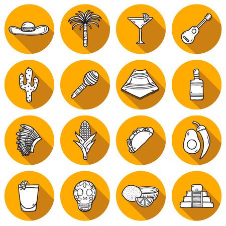 poncho: Conjunto de lindos dibujados a mano iconos contorno sombra sobre mexicas tema: sombrero, poncho, tequila, cocteles, tacos, cr�neo, guitarra, piramidales, aguacate, lim�n, pimienta de chile, cactus, sombrero injun, palma. Mexicano objetos nacionales aislados en vector. Usted puede utilizarlo para su m� Vectores