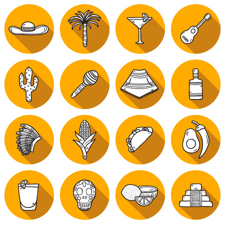latinoamerica: Set of cute hand drawn shadow outline icons on Mexica theme: sombrero, poncho, tequila, coctails, taco, skull, guitar, pyramid, avocado, lemon, chilli pepper, cactus, injun hat, palm. Isolated national mexican objects in vector. You can use it for your me