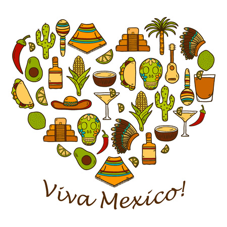 latinoamerica: Vector background with cute hand drawn objects in heart shape on Mexica theme: sombrero, poncho, tequila, coctails, taco, skull, guitar, pyramid, avocado, lemon, chilli pepper, cactus, injun hat, palm. Travel concept. National mexican objects in vector. Y