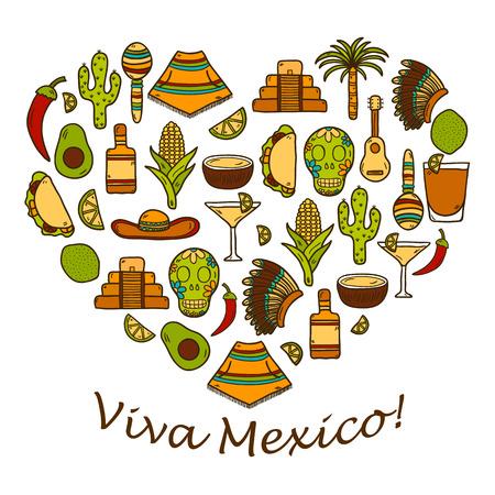 poncho: Vector de fondo con la mano objetos lindos dibujados en forma de coraz�n sobre mexicas tema: sombrero, poncho, tequila, cocteles, tacos, cr�neo, guitarra, pir�mide, aguacate, lim�n, pimienta de chile, cactus, sombrero injun, palma. Concepto del recorrido. Mexicano objetos Nacionales de vector. Y