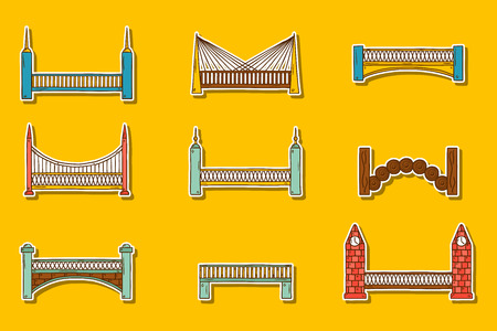 bridge hand: Set of simple cute cartoon colorful hand drawn bridge stickers. City and travel concept