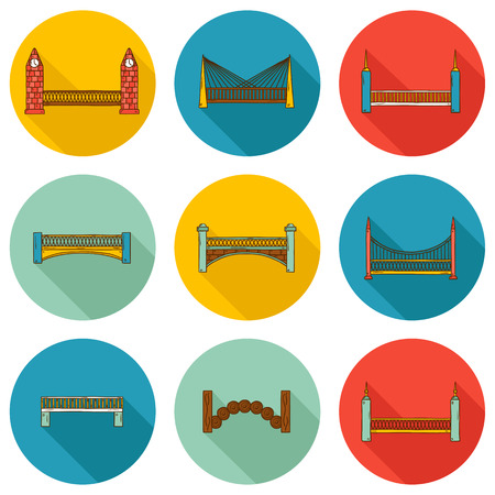 bridge hand: Set of simple cute cartoon colorful hand drawn bridge icons with shadows. City and travel concept