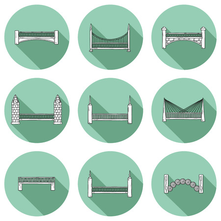 bridge hand: Set of simple cute cartoon outline hand drawn bridge icons with shadows. City and travel concept