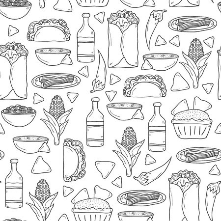 Seamless background with cute cartoon hand drawn outline objects on mexican food theme: chili, taco. tobacco, birrito, nachos, tequila, rice. Travel mexicam cuisine concept, You can use it for your site, app, restaurant menu, shop