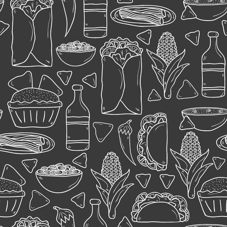 nachos: Seamless background with cute cartoon hand drawn outline objects on mexican food theme: chili, taco. tobacco, birrito, nachos, tequila, rice. Travel mexicam cuisine concept, You can use it for your site, app, restaurant menu, shop
