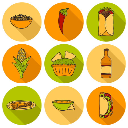 nachos: Set of cute cartoon hand drawn shadow icons on mexican food theme: chili, taco. tobacco, birrito, nachos, tequila, rice. Travel mexicam cuisine concept, You can use it for your site, app, restaurant menu, shop