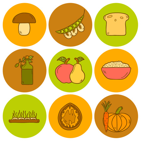 soy bean: Set of modern icons in hand drawn style on vegan food theme: fruit, vegetable, mushroom, soy, bean, oil, nut, bread, rice. Raw healthy food or vegan concept. Great for vegan site, app, organic market or shop and emblem Illustration