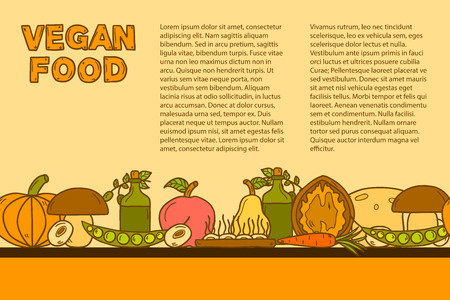soy free: Vector tempate with cute cartoon modern objects in hand drawn style on vegan food theme: fruit, vegetable, mushroom, soy, bean, oil, nut, bread, rice. Raw healthy food or vegan concept. Great for vegan site, app, organic market or shop, cards