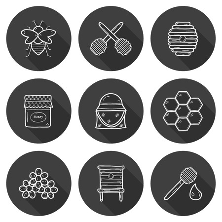 Hive: Set of cute cartoon hand drawn icons on beekeeping theme: bee, honey, flowers, bee hat, bee spoon, beehive. Farm or eco concept. You can use it for farm products site, app, shop