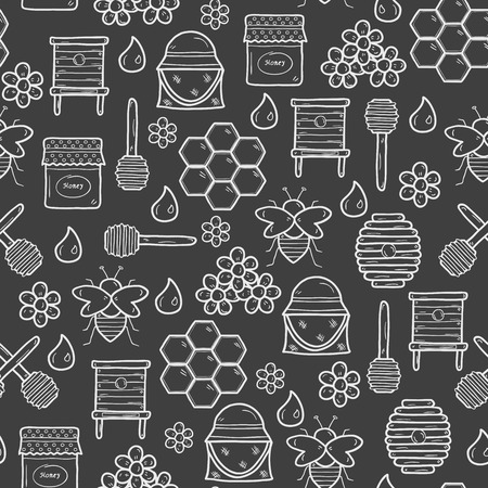 Seamless background with cute cartoon hand drawn objects on beekeeping theme: bee, honey, flowers, bee hat, bee spoon, beehive. Farm or eco concept. You can use it for farm products site, app, shop