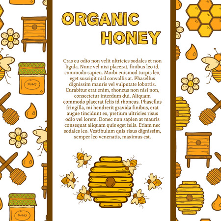 beekeeping: Vector template with cute cartoon hand drawn objects on beekeeping theme: bee, honey, flowers, bee hat, bee spoon, beehive. Farm or eco concept. Includs seamless background. You can use it for farm products site, app, shop, card
